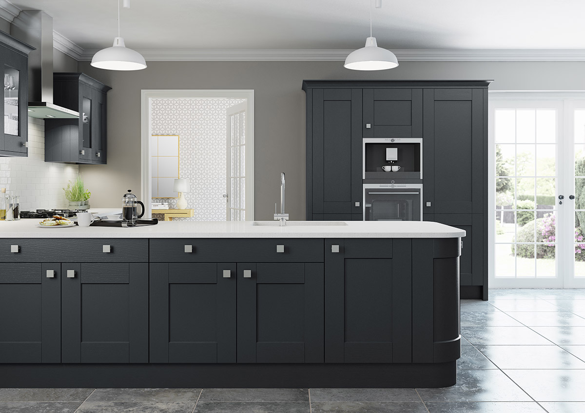 Light And Dark Grey Painted Cabinets