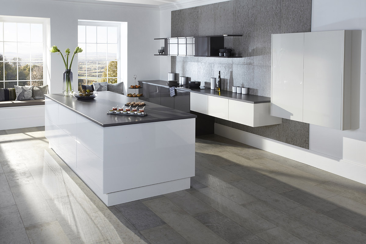 Smooth Kitchens County Kitchens - Grey and white gloss kitchen